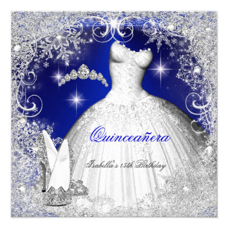 Quinceanera Party Royal Blue Winter Snowflakes Card