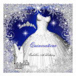 Quinceanera Party Royal Blue Winter Snowflakes Announcement