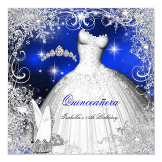 Quinceanera Party Royal Blue Winter Wonderland Card