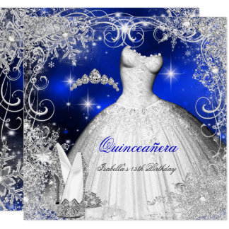 Quinceanera Party Royal Blue Winter Wonderland Invitation