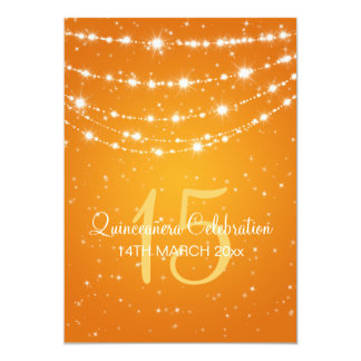 Quinceañera Party Sparkling Chain Orange Card