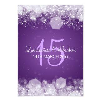 Quinceañera Party Sparkling Night Purple Card