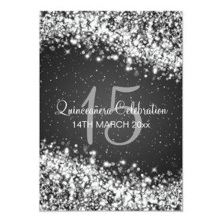 Quinceañera Party Sparkling Wave Black Card