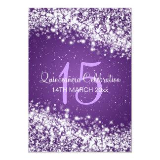 Quinceañera Party Sparkling Wave Purple Card
