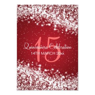 Quinceañera Party Sparkling Wave Red Card