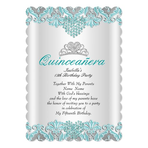 Quinceanera Party Teal Blue Hearts Lace Tiara 2 Card