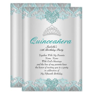 Valentines Themed Quinceanera Party Teal Blue Hearts Lace Tiara Card