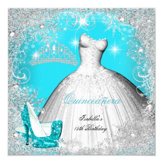 Quinceanera Party Teal Blue Silver Snowflakes 2 Card