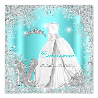 Quinceanera Party Teal Blue Silver Snowflakes Custom Announcement