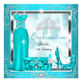 Quinceanera Party Teal Blue Silver Snowflakes S4 Invites