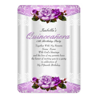 Quinceanera Party White Purple Pink Roses Lace Card