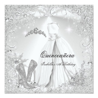 Quinceanera Party White Silver Winter Snowflakes 2 Card