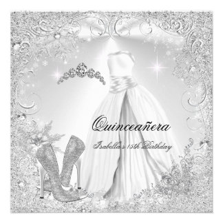 Quinceanera Party White Silver Winter Snowflakes 2 Personalized Invitations