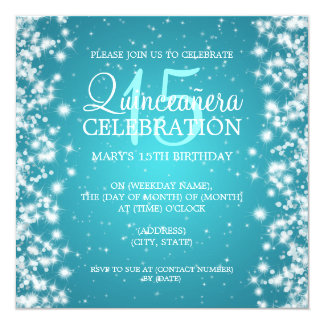 Quinceañera Party Winter Sparkle 2 Turquoise Card