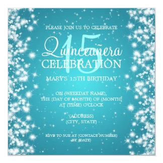 Quinceañera Party Winter Sparkle 2 Turquoise Card