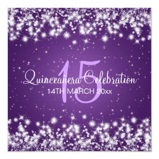Quinceañera Party Winter Sparkle Purple Card