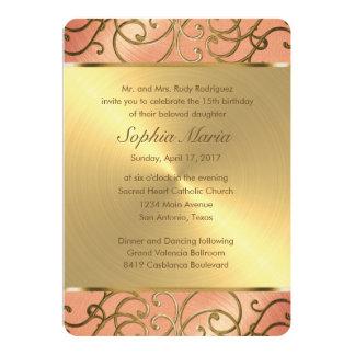 Quinceanera Peach and Gold Filigree Swirls Card