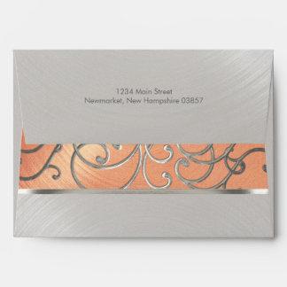 Quinceanera Peach and Silver Filigree Swirls Envelope