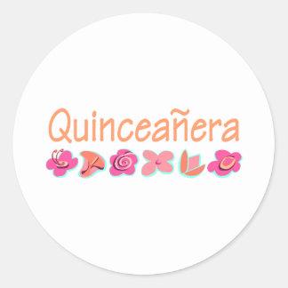 Quinceanera (peach color) classic round sticker