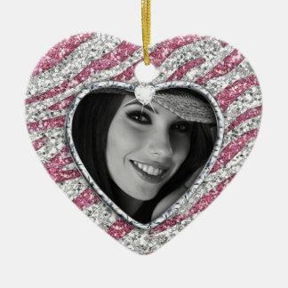 Quinceanera personalized photo zebra heart Pink Ceramic Ornament