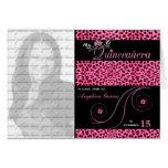 Quinceanera Photo Invitation Pink Cheetah Print Cards