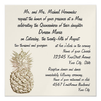 Quinceanera Pineapple Gold Metallic Personalized Announcement