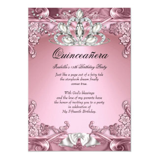 Quinceanera Pink 15th Birthday Party 5x7 Paper Invitation Card