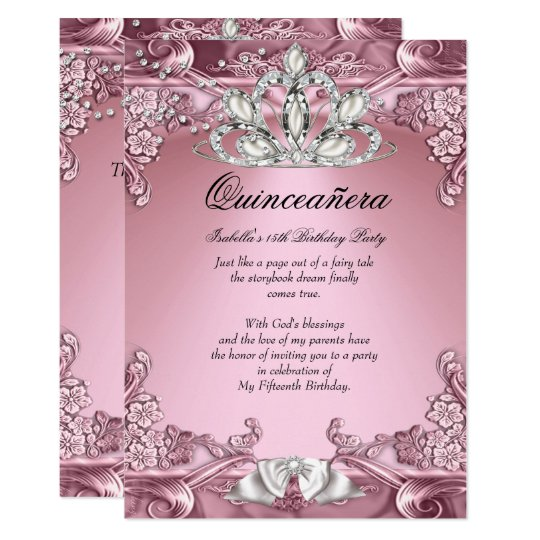 Quinceanera Pink 15th Birthday Party Card