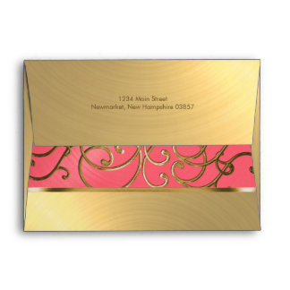 Quinceanera Pink and Gold Filigree Swirls Envelope