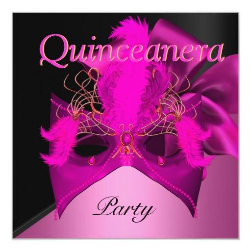 Quinceanera Pink Black Gold Mask Masquerade 5.25x5.25 Square Paper Invitation Card