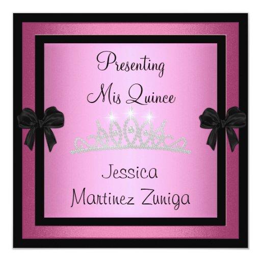 Quinceanera Pink Black Jewel Tiara Formal 1 Custom Announcements