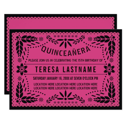 Quinceanera Pink Black Papel Picado Invitation Zazzle Com