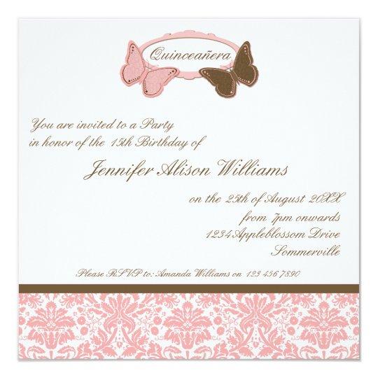 Quinceañera Pink & Chocolate Damask Butterflies Card