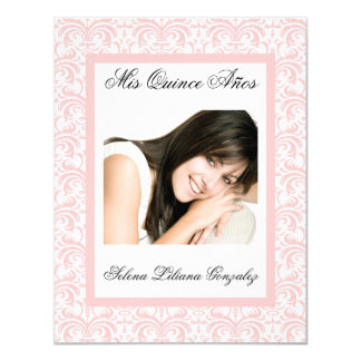 Quinceanera Pink Damask Soft Pink and White 4.25x5.5 Paper Invitation Card