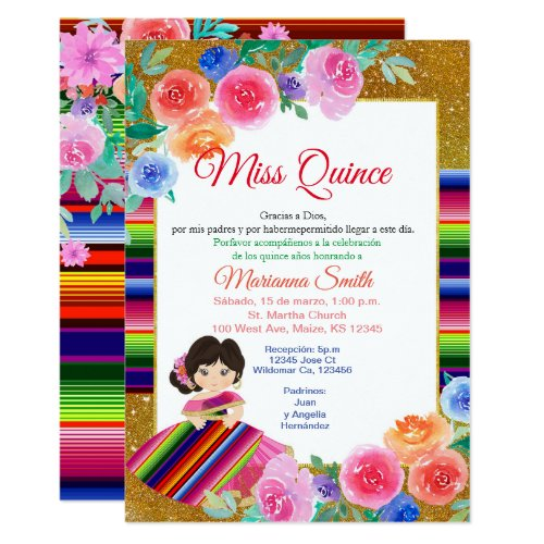 Quinceanera Pink Floral Mexican Miss Quince Invite