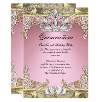 Quinceanera Pink Gold 15th Birthday Party Card