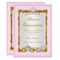 Quinceanera Pink Gold Horse Carriage Fairytale Invitation