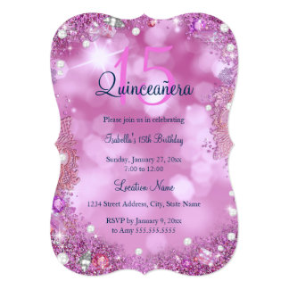 Quinceanera Pink Ocean Sky Birthday Party Card