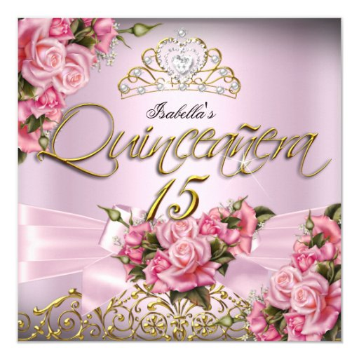 Quinceanera Pink Roses 15th Tiara Birthday Party 5.25x5.25 Square ...