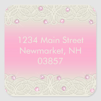 Quinceanera Pink Sparkle and Lace Square Sticker