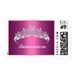 Quinceañera Pink Tiara Postage Stamps