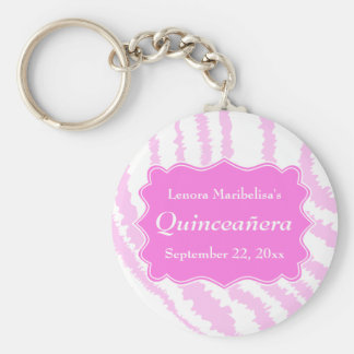 Quinceanera Pink Zebra Print Pattern Basic Round Button Keychain