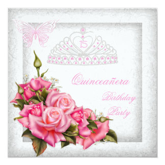 Quinceanera Pretty Pink Roses White 15th Party 2 Card
