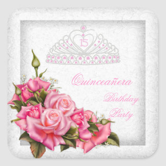 Quinceanera Pretty Pink Roses White 15th Party Square Sticker