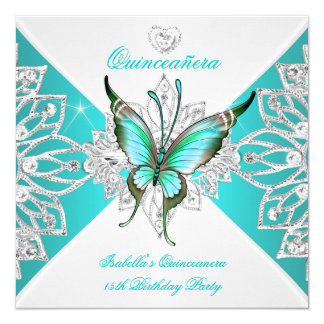 Quinceanera Pretty Teal Blue Butterfly Tiara 2 5.25x5.25 Square Paper Invitation Card