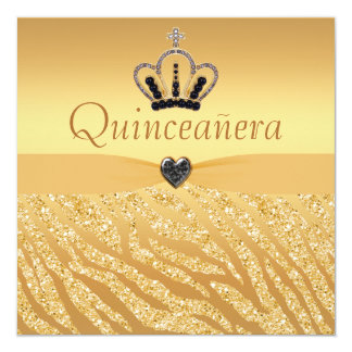 Quinceanera Princess Crown, Heart & Zebra Glitter Card