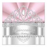 Quinceanera Princess Pink White Diamond Tiara 5.25x5.25 Square Paper Invitation Card