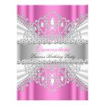 Quinceanera Princess Pink White Diamond Tiara Personalized Invite