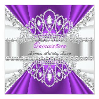 Quinceanera Princess Purple White Diamond Tiara Card