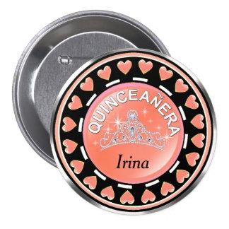 Quinceanera Princess Tiara Love Hearts | peach Pinback Button
